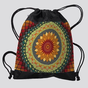 Lotus Zen Mandala Drawstring Bag