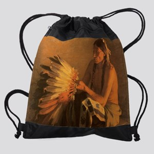 Vintage Native American Indians Drawstring Bag