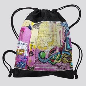 Neon Yellow & Pink Graffiti Drawstring Bag