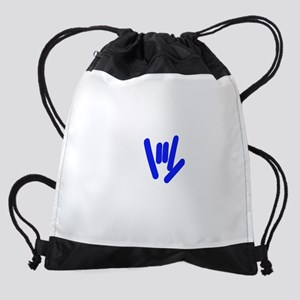 asl_hand_blue Drawstring Bag