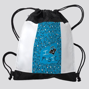 I Love Music Drawstring Bag