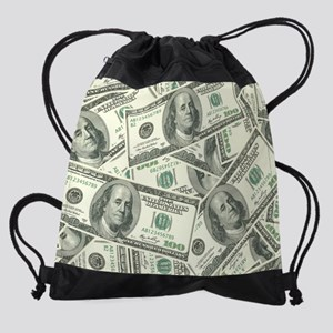 100 Dollar Bill Money Pattern Drawstring Bag