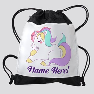 Personalized Custom Name Unicorn Girls Drawstring
