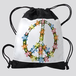 Peace Flowers Drawstring Bag