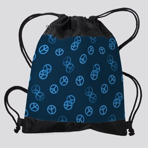 Random Blue Peace Sign Drawstring Bag