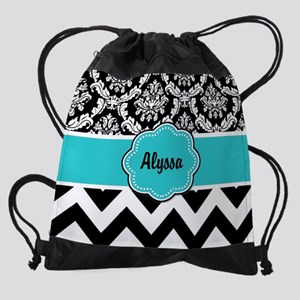 Blue Black Damask Chevron Drawstring Bag