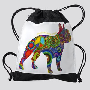 Peace Love & Boston Terriers Drawstring Bag