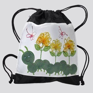 Tatted Caterpillar Garden Drawstring Bag