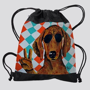Dachshund Peace Sign Drawstring Bag