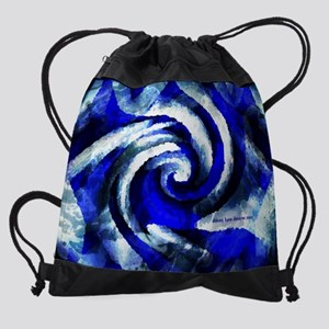 13 inch laptop sleeve Mod Blue Swir Drawstring Bag