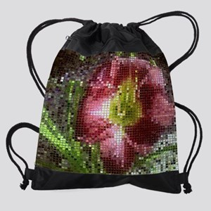 13 inch Laptop Sleeve Mosaic Lily Drawstring Bag