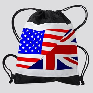 USA and UK Flags Drawstring Bag