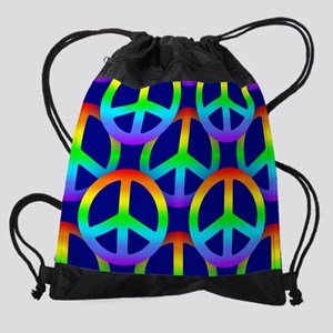 Rainbow Peace Sign Pattern Drawstring Bag