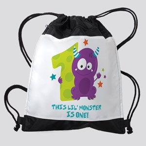 Monster 1st Birthday Drawstring Bag