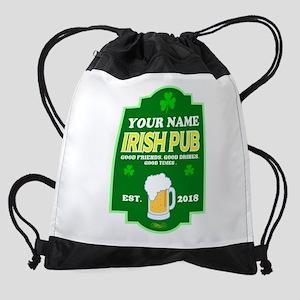 Irish Pub sign Drawstring Bag