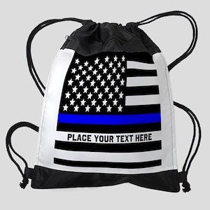 Thin Blue Line Drawstring Bag