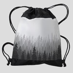 Gray Forest Drawstring Bag