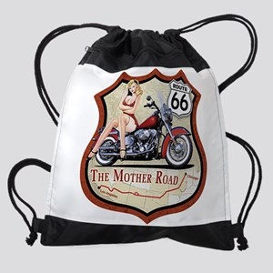 Route 66 The Mother Road Drawstring Bag