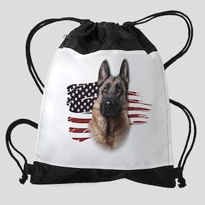 Patriotic German Shepherd Drawstring Bag