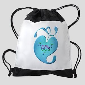 50s Music Love Drawstring Bag