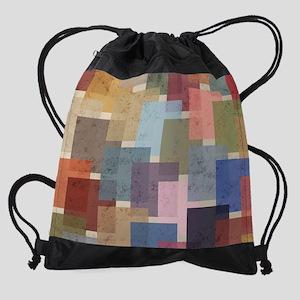 Mid Century Modern Squares Drawstring Bag