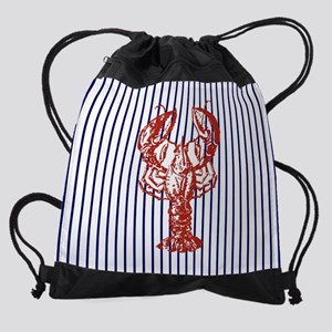 beach nautical stripes lobster Drawstring Bag