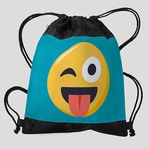 Winky Tongue Emoji Drawstring Bag