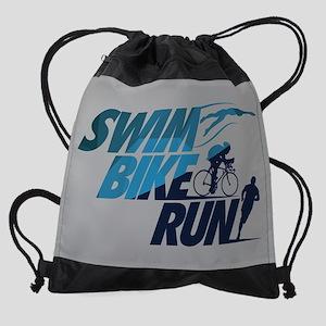 Swim Bike Run Split Blue FB Drawstring Bag