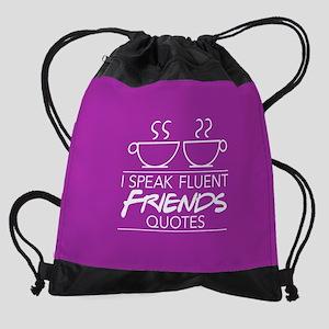 I Speak Friends Quotes Cups FB Drawstring Bag
