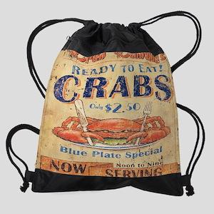 beach seafood vintage crab Drawstring Bag