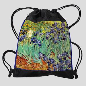 Van Gogh Irises purple floral Drawstring Bag