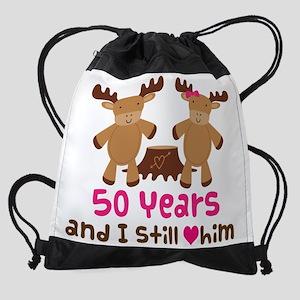 50 Year Anniversary Moose Drawstring Bag