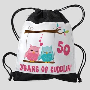 50th Anniversary Owl Couple Drawstring Bag