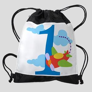1st Birthday Airplane Drawstring Bag