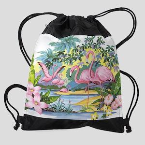 Flamingos Drawstring Bag