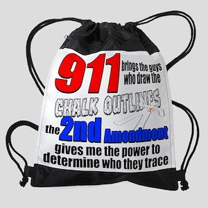 911 Chalk Outlines Drawstring Bag
