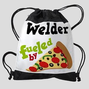 Welder Fueled By Pizza Drawstring Bag