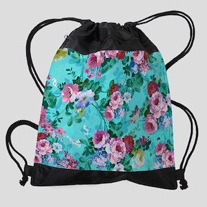 Red & Pink Rose Turquoise Blue  Drawstring Bag