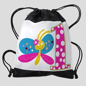 Girly Butterfly First Birthday Drawstring Bag