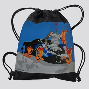 fluffy and the girls copy Drawstring Bag