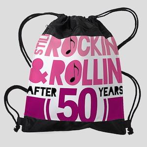 50 pink rock Drawstring Bag