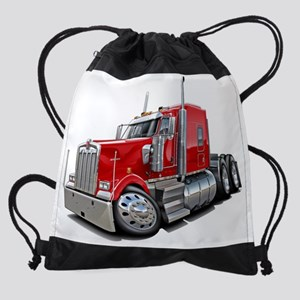 Kenworth w900 Red Truck Drawstring Bag