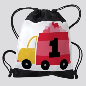 1st Birthday Valentine Truck Drawstring Bag