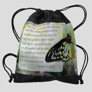 Bible Verse: Romans 8:38-39 Drawstring Bag