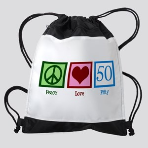 Peace Love 50 Drawstring Bag