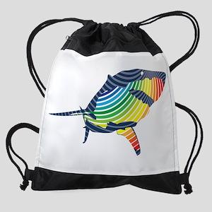 great white rainbow shark Drawstring Bag