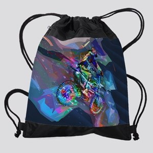Super Crayon Colored Dirt Bike Care Drawstring Bag
