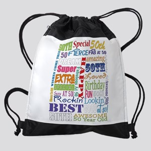 50th Birthday Typography Drawstring Bag