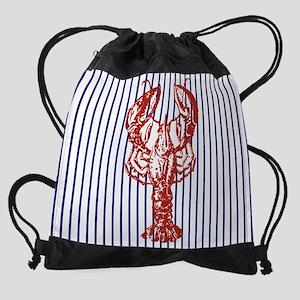nautical stripes vintage lobster Drawstring Bag