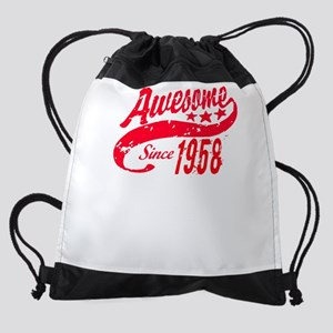Awesome Since 1958 60 Years Old Bir Drawstring Bag